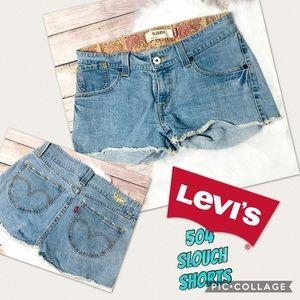 Levi's 504, Slouch, low rise, cutoff, denim shorts